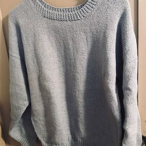 Sweaters - Homemade hand knit pullover in smoke blue w/silver